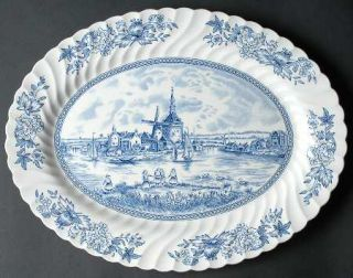 Johnson Brothers Tulip Time Blue (White Background) 13 Oval Serving Platter, Fi