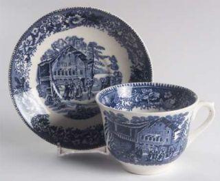 Thomas Hughes Avon Cottage Flat Cup & Saucer Set, Fine China Dinnerware   Blue S