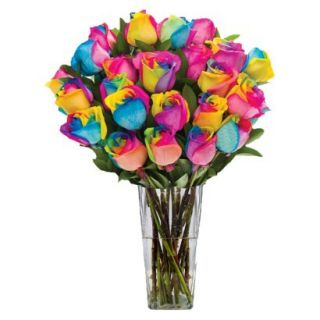 Rainbow Roses with Vase   24 Stems
