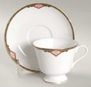 Spode Harvard Footed Cup & Saucer Set, Fine China Dinnerware   Black And Gold Ba