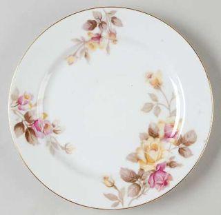 Noritake Angela Salad Plate, Fine China Dinnerware   Pink&Yellow Roses,Brown Lea