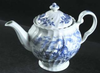 Johnson Brothers Tulip Time Blue (White Background) Teapot & Lid, Fine China Din