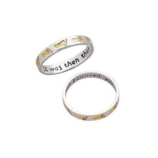 Sterling Silver Two Tone Footprints Ring  5
