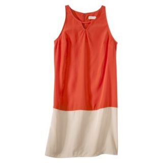 Merona Womens Colorblock Hem Shift Dress   Hot Orange/Hamptons Beige   S