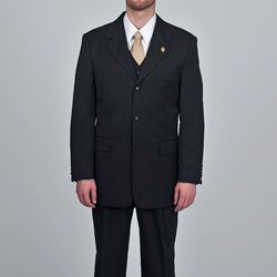 Stacy Adams Mens Black 3 piece Vested Suit