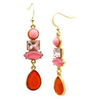 Dangle Earrings   Gold/Pink