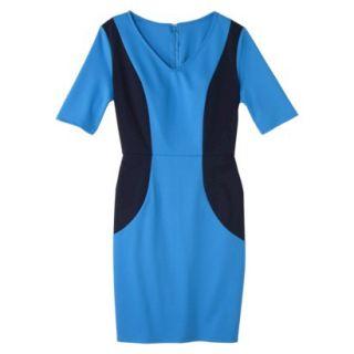 Merona Womens Ponte V Neck Color Block Dress   Brilliant Blue/Navy   XL