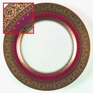 Faberge Imperial Heritage Burgundy Dinner Plate, Fine China Dinnerware   Gold En