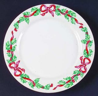 International Christmas Ribbons Salad Plate, Fine China Dinnerware   Holly,Red R