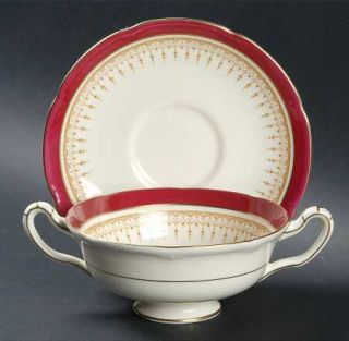 Royal Doulton Duke Of York Maroon Footed Cream Soup Bowl & Saucer Set, Fine Chin