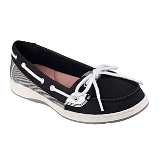LIZ CLAIBORNE Saber Boat Shoes, Black, Womens