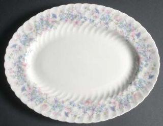 Wedgwood Angela 13 Oval Serving Platter, Fine China Dinnerware   Pastel Flowers