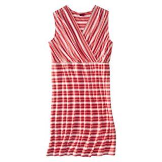 Merona Womens Plus Size V Neck Sleeveless Knit Dress   Gauva Berry Stripe 4