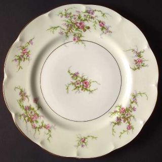 Haviland Rosalinde (France,Gold Trim) Dinner Plate, Fine China Dinnerware   Fran