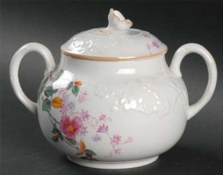 Spode Roberta Orange (Smooth) Sugar Bowl & Lid, Fine China Dinnerware   Pink Flo