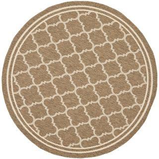 Safavieh Indoor/ Outdoor Courtyard Brown/ Bone Rug (710 Round)