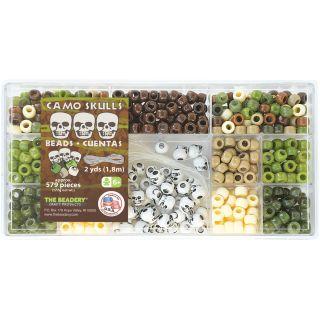 Beadery Bead Box Kit 579 Plastic Pony Beads/pkg : Camo Skulls Mix