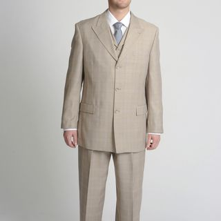 Caravelli Fusion Mens Tan Tonal Plaid Vested Suit