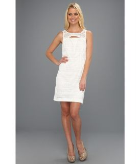 Donna Morgan Tank Front Lace Dress w/ Front Opening Womens Dress (White)