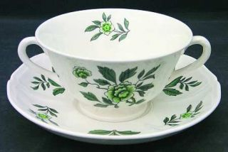 Wedgwood Green Leaf (QueenS Shape) Footed Cream Soup Bowl & Saucer Set, Fine Ch