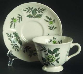 Wedgwood Green Leaf (QueenS Shape) Footed Cup & Saucer Set, Fine China Dinnerwa