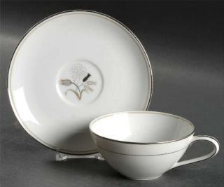 Noritake Jaris Flat Cup & Saucer Set, Fine China Dinnerware   Gray/Taupe/Black F