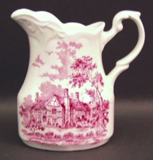 J & G Meakin Romantic England Red Creamer, Fine China Dinnerware   Red Scenes,Wh