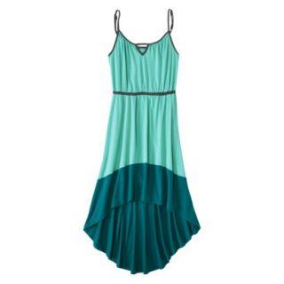 Merona Womens Knit Colorblock High Low Hem Dress   Sunglow Green/Turquoise   M