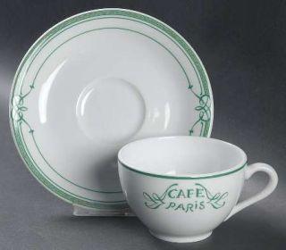 Bernardaud Cafe Paris Green Flat Cup & Saucer Set, Fine China Dinnerware   Resid