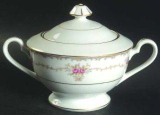 Style House Princess Sugar Bowl & Lid, Fine China Dinnerware   Tan & Gray Scroll