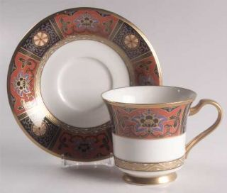 Noritake Silk Winds Footed Cup & Saucer Set, Fine China Dinnerware   Black,Rust,