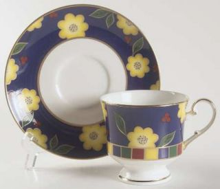 Mikasa Tea Ceremony Cobalt Blue Footed Cup & Saucer Set, Fine China Dinnerware