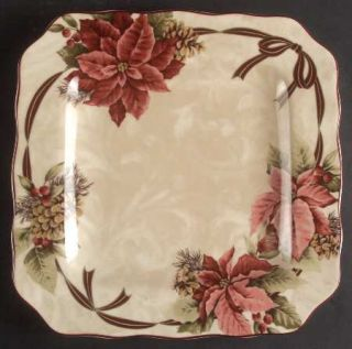 222 Fifth (PTS) Yuletide Celebration Square Dinner Plate, Fine China Dinnerware
