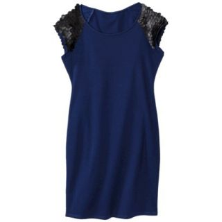 Mossimo Womens Faux Leather Disc Ponte Dress   Blue/Black XS