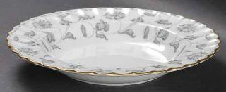 Spode Colonel Gray (Gold) Rim Soup Bowl, Fine China Dinnerware   Gray Flowers,Sc