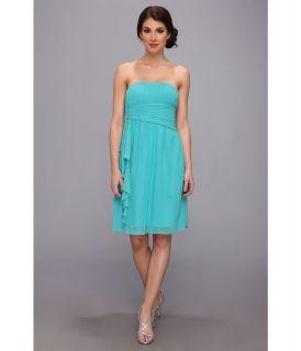 Donna Morgan Strapless Chiffon W Cascade Dress Womens Dress (Blue)