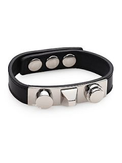 Saint Laurent Studded Leather Bracelet/Silvertone   Black Silver
