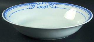 Bernardaud Cafe Paris Blue 9 Round Vegetable Bowl, Fine China Dinnerware   Resi