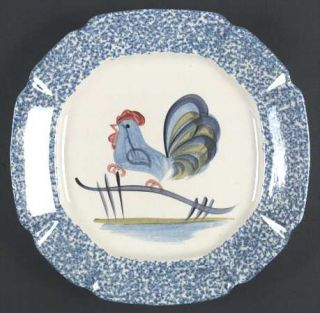 Los Angeles Blue Stipple W/Rooster Large Dinner Plate, Fine China Dinnerware   B
