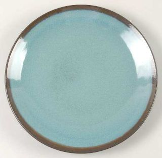 Home Trends Lagoon Dinner Plate, Fine China Dinnerware   Turquoise,Brown Edge,Co
