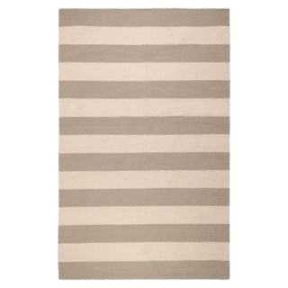 Rugby Stripe Flat Weave Area Rug   Gray (5x8)