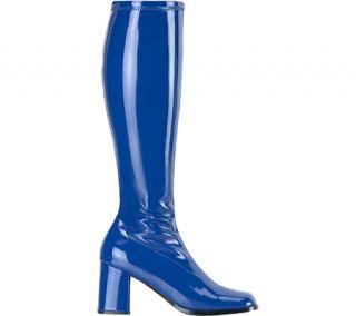 Womens Funtasma Gogo 300   Navy Blue Stretch Patent Boots