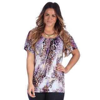 24/7 Comfort Apparel Womens Plus Abstract Animal Print Split Sleeve Banded Top