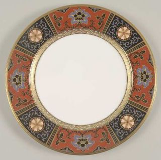 Noritake Silk Winds Salad Plate, Fine China Dinnerware   Black,Rust,Gold Panels,