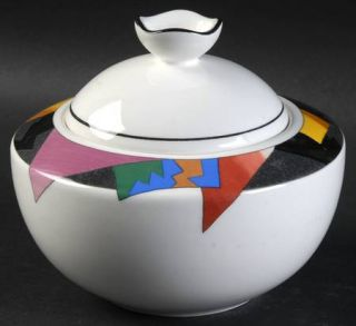 Mikasa Decoupage Sugar Bowl & Lid, Fine China Dinnerware   Ultra Ceram,Fashion P