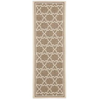 Safavieh Indoor/ Outdoor Courtyard Brown/ Bone Rug (24 X 12)