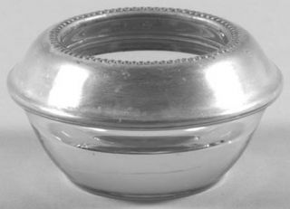 Frank Whiting Misc Sterling Hollowware Crystal Open Salt Master w/Sterling Rim