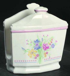 Sarma Studios Victorian Flowers Napkin Holder, Fine China Dinnerware   Floral, P