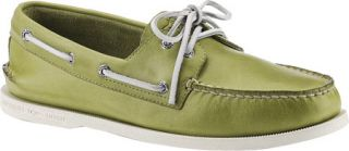 Mens Sperry Top Sider A/O 2 Eye Free Time   Green Full Grain Leather Sailing Sh