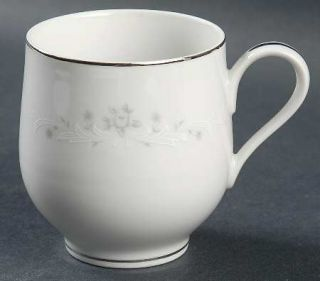 Sango Julie Flat Cup, Fine China Dinnerware   Gray Roses,White Scrolls,Coupe